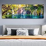 Cuadro sobre lienzo Naturaleza Árbol verde Cascada Paisaje Impresiones Arte de la pared Pinturas Póster Sala de estar Cocina Decoración para el hogar 27.5 'x82.6 (70x210cm) Sin marco