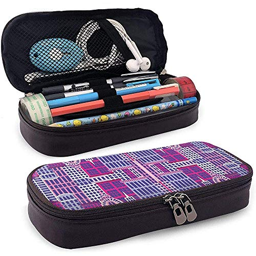 Stadt und Stadt Himmel Reflexion Leder Federmäppchen Tasche mit Reißverschluss Stift Box, große Kapazität Briefpapier Box
