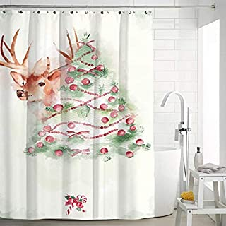 FEOYA Christmas Shower Curtain Decorations Bathroom Curtains Home Decor Repellent & Antibacterial Decorations 59 × 71 inch