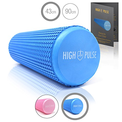 High Pulse Pilates Roller (43x14cm incl. Poster + Fascia Elastica) – Cilindro in Schiuma Pilates Alta densità, Trigger Point, Fisioterapia, Yoga, Fitness (Blu)