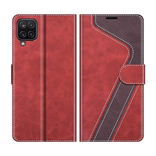 MOBESV Funda para Samsung Galaxy A12, Funda Libro Samsung A12, Funda Móvil Samsung Galaxy A12 Magnético Carcasa para Samsung Galaxy A12 Funda con Tapa, Rojo