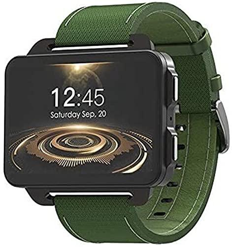 TCHENG 3G Android Smart Watch 1200 mAh Camera Batteria WiFi SIM Uomo Smartwatch Bluetooth cardiofrequenzimetro Video Chiamate GPS Polso (Color : Green)