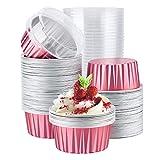 Eusoar - Moldes desechables para hornear, 100 unidades, 125 ml, moldes para magdalenas con tapa, ramequines de crema de aluminio para pasteles, moldes de papel de aluminio