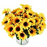 Lvydec Artificial Sunflower Bouquet, 6 Bunches Silk Sunflowers Fake Yellow Flowers for Home Party Wedding Decoration