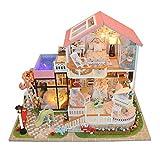 Juguete De Cabaña De Cabaña De Bricolaje para Niños En Miniatura con Muebles Kit De Casa De Muñecas De Madera DIY Movimiento Musical Y Luz LED Regalo De Cumpleaños Romántico