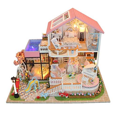 Casas de muñecas,Kit de Modelo de casa de Bricolaje con Caja de música y Kit de luz LED,Villa Rosa Casa de muñecas en Miniatura para niños y Adultos Regalo de cumpleaños de Navidad