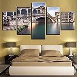 5 Piezas de Arte de Pared Lienzo Pintura Puente de Piedra Paisaje de río póster Sala de Estar Moderna decoración del hogar Cuadros modulares-30x40x60cm