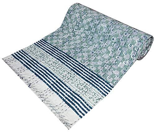 Yuvancrafts - Colcha de algodón puro para cama individual Kantha