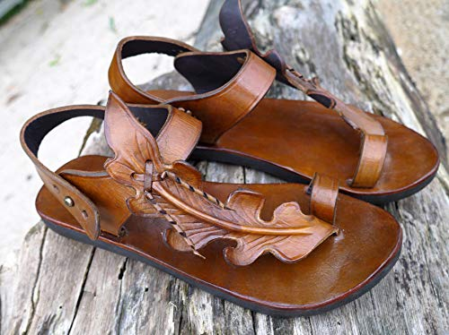 Handmade Selling Brown Mail order cheap Leather Sandals Leaf