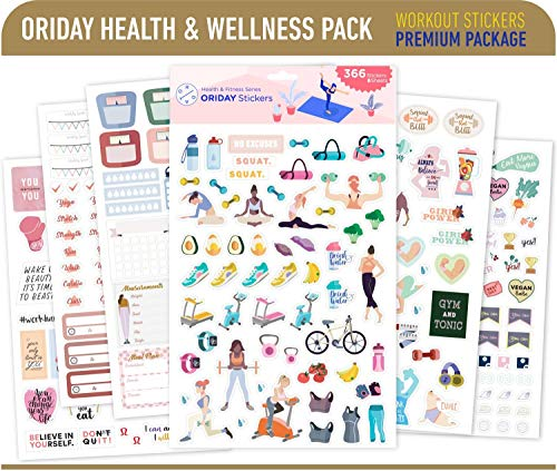 Oriday Health & Wellness, Workout - Set of 366 Stickers, 6 Sheets for Fitness Stickers - Mom, Student, Habit Tracker, for Monthly, Weekly & Daily Planner, Calendar or Journal - Sticker Book for Women