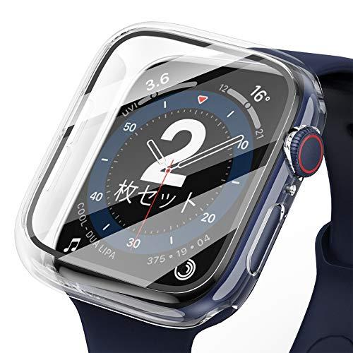【2枚】Yoarmyt for Apple watch ケース,アップルウォッチ ケース 40mm 44mm日本旭硝子画面カバー PCフレーム 傷防止 耐衝撃 超軽量 apple watch フィルム apple watch series 6/SE/5/4対応(クリア)