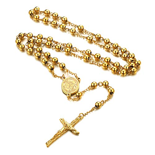 FaithHeart Cruz Jesús Medalla Miguel Arcángel Collar Rosario Colorado Acero Inoxidable 316L Bolitas Doradas Collar Largo de Cuello de Amigos