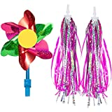 PAMASE 2 Pieces Kids Bicycle Tassel Ribbon- Bike Scooter Handlebar Streamers Sparkle Tassels Bicycle Grips Ribbon for...