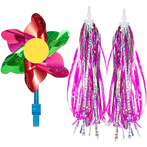 PAMASE 2 Pieces Kids Bicycle Tassel Ribbon- Bike Scooter Handlebar Streamers Sparkle Tassels Bicycle Grips Ribbon for Children Girls Boys Balance Road Bikes Decor Baby Carrier Accessories