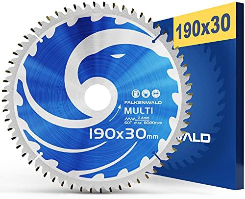 FALKENWALD - Hoja de Sierra Circular 190 x 30 mm - Ideal para Madera - Metal y Aluminio - Disco de Corte compatible con Sierra Tronzadora y Sierra Circular de Bosch & Makita