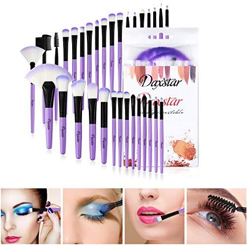 Daxstar Cosmetic Brushes Set Purple, Basic Beginner Makeup Brushes Collection 32 PCs Dense Fan Blending Highlighter Powder Mascara Brush with No-shed Brush Hair …