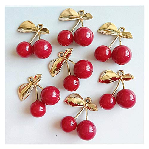 Buttons 10pcs / lot alloy creative gold leaf red cherry pendant buttons ornaments jewelry earrings choker hair diy jewelry accessories