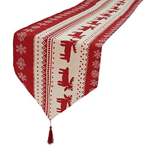 Axgo - Camino de Mesa Bordado con diseño de muñeco de Nieve para Navidad, Cena, Fiesta, decoración, 35 x 180 cm, Ciervo