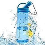 Borraccia da 1 Litro BPA Free Bottiglia d'Acqua Sportiva Plastica a Prova di Perdite, Detox Borracce Acqua con Filtro e Scala del Tempo per Sport, Yoga, la Corsa-Blu