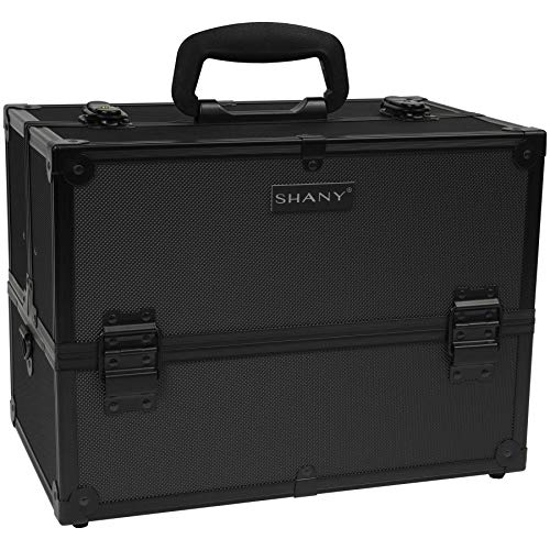 SHANY Essential Pro Makeup Train Case with Shoulder Strap and Locks - Black On Black