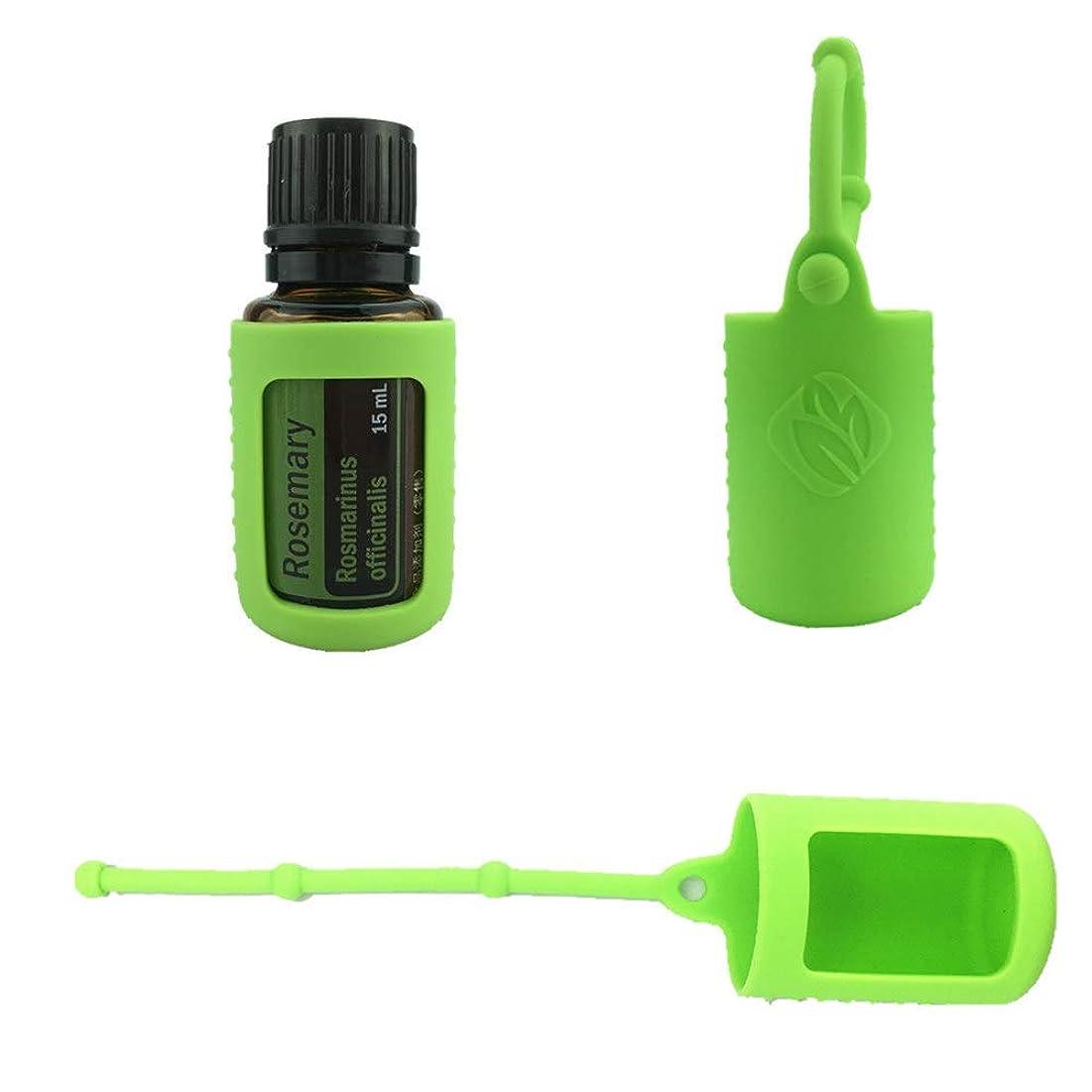 枕慈善してはいけない6パック熱望オイルボトルシリコンローラーボトルホルダースリーブエッセンシャルオイルボトル保護カバーケースハングロープ - グリーン - 6-pcs 10ml