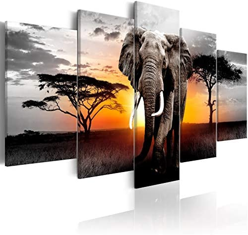 Extra Large African Landscape Canvas Wall Art Elephant Painting Modern Wild Animal Print Artwork product image