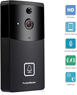 FLOUREON WIFI Video Doorbell, Smart Doorbell 720P HD Security Camera With micro SD slot, Real-Time Two-Way Talk and Video (Model 4)