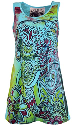 Guru-Shop Mirror Top, Longshirt, Minikleid, Damen, Elefant/Türkis, Baumwolle, Size:L (40), Bedrucktes Shirt Alternative Bekleidung