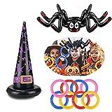 Sombrero de araña hinchable, sombrero de bruja, juego de lanzar, Halloween, juguetes para niños y adultos, actividades al aire libre en el interior, Halloween