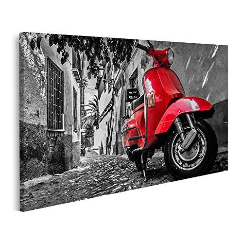 Bild Bilder auf Leinwand EIN roter Vespa Roller parkt auf Einer gepflasterten Straße Wandbild Poster Leinwandbild QBSW