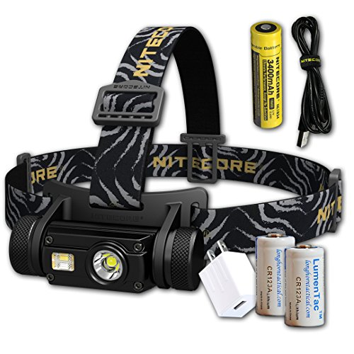 Nitecore HC65 1000 Lumen White/Red/High CRI USB Rechargeable Headlamp with 2X CR123A Lumen Tactical Batteries