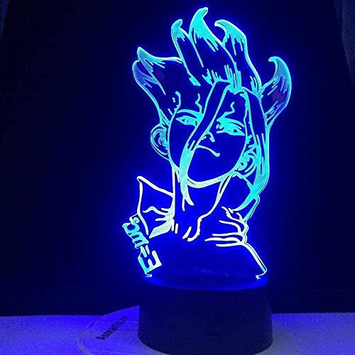 BTEVX Luz nocturna LED 3D con forma de anime Dr Stone para niños, lámpara de mesa infantil, decoración de dormitorio, manga, luz nocturna para él para cumpleaños/Navidad (mando a distancia)