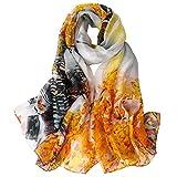 donna sciarpa di seta di lusso di colore solido impacca di scialle di, 100% seta (xf02)