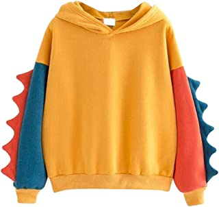 Aniywn Women Girls Cosplay Sweater Hoodie Cute Ears Costume Jacket Color Patchwork Pullover Shirt Top