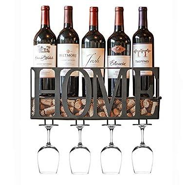 MKZ Products Wall Mounted Metal Home Wine Rack | Wine Bottle | Hanging Stemware Glass Holder | Cork Storage | Storage Rack | Home & Kitchen Decor