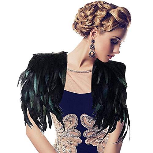 ANGTUO Scialle nera piuma, Mano-Sewn pavone Scialle Party Vestito da sera Vestito Moda Ds Singer Performance Stage Feather Abbigliamento