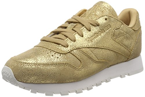 Reebok Damen Classic Leather Shimmer Fitnessschuhe, Gold (Xj Gold/Chalk 000), 37 EU