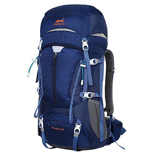 Eshow 50L Mochilas de Acampada Multifuncional Mochilas de Senderismo de Nailon Impermeable Mochilas de Montaña para Viajes de Unisex Color Azul