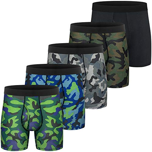 Mens Boxer Briefs Cotton Underwear Comfy Breathable Tagless No Rideup 6'' Regular Leg Sport Boxer Briefs with Fly Pack Y:Cotton Black 7Pack Fly Large
