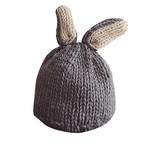 Bonnet Bébé Bonnet Hiver pour Bébé Fille Unisex Bonnet Chapeau Tricoté Casquette en Style Oreilles Lapin Bonnet Garçon Pompom Enfant Fille Garçon 1-8 Ans