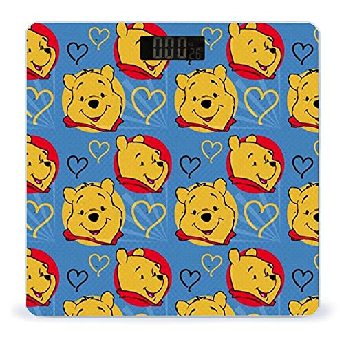 Scales for Body Weight Winnie The Pooh Love Pattern Rounded Corner Design,High Precision Digital Bathroom Scale with Lighted LED Display Non-Slip&Scratch Resistant