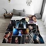 The Vampire Diaries Blanket Damon Salvatore Blanket Rug Soft Throw Fleece Blankets for Gift Bed Sofa 50'X40' Lightweight Flannel Blanket Bedding