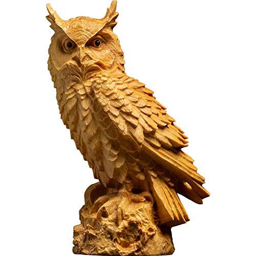 ZAQWSXCDE Dekoration Statuestatuen Und Skulpturen Skulptur Figur Buchsbaum Holzschnitzerei Chinesisches Wohnzimmer Dekoration Ornamente Eule Tier Statue Schnitzerei Handwerk
