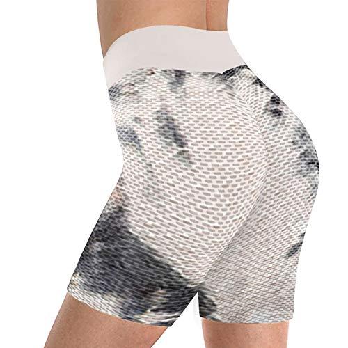 NAQUSHA Pantalones cortos de yoga con textura de burbujas para mujer, levantamiento de glúteos, nido de abeja, suave, elástico, control de barriga, gimnasio, mallas cortas para correr