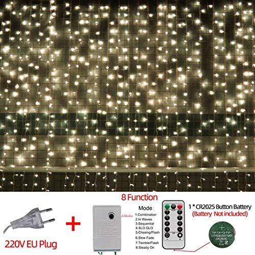 220VLED Christmas Light Icicle Impermeable Fairy String Cortina de Luces Guirnalda al Aire Libre para la Fiesta de Bodas Bar Decoración de año Nuevo - Control Remoto Amarillo, a1,3M x 3M 304LED