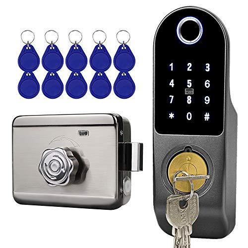FTSTech Cerradura Electrónica Inteligente,Cerradura de Puerta Biométrica con Huella Dactilar, contraseña, código QR de Wechat,Tarjeta de Huella Dactilar,Cerradura de llave para Dormitorio