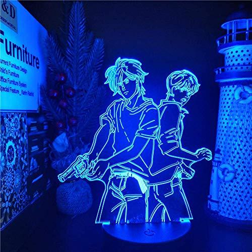 3D noche luz anime 3D lámpara plátano pescado ASH Lynx Eiji Okumura Figura LED noche luz cambiante color lámpara de mesa niño regalo de cumpleaños