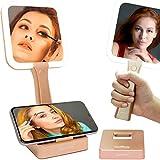Espejo de maquillaje recargable con luces – Espejos de tocador de doble cara iluminados con soporte, 1 x y 5 x espejo de mano con aumento, espejo de mesa portátil regulable, baño (oro rosa)
