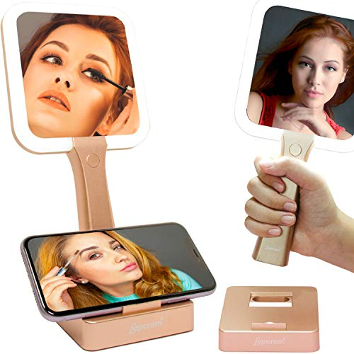 Makeup Mirror with Lights - 2 in 1 Rechargeable LED Lighted Double-Sided Vanity Mirrors with Kickstand, 1X & 5X Magnifying Handheld 3 Color Mirror, Dimmable Cosmetic Portable Bathroom Tabletop Mirror