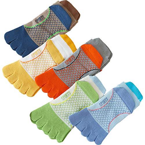 DaMohony Kinder-Zehensocken aus Baumwolle mit fünf Fingern, atmungsaktive Sportsocken für Jungen und Mädchen (5 Paar, 7–12 Jahre)